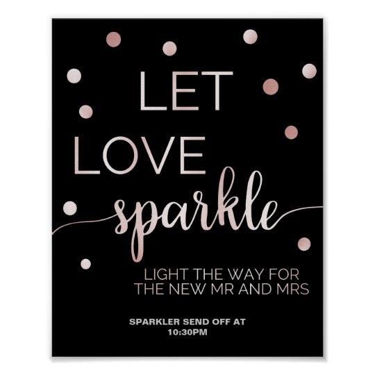Rose Gold & Black Glam Confetti Sparkler Send