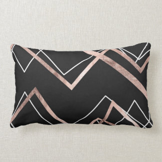 Rose Gold Black Linear Triangle Abstract Pattern Lumbar Cushion