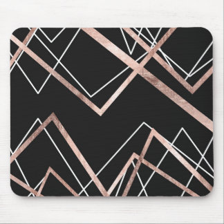 Rose Gold Black Linear Triangle Abstract Pattern Mouse Mat