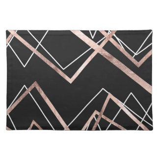 Rose Gold Black Linear Triangle Abstract Pattern Placemat
