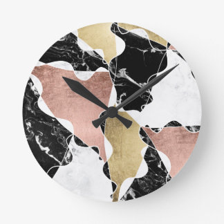 Rose gold black white marble color block geometric round clock