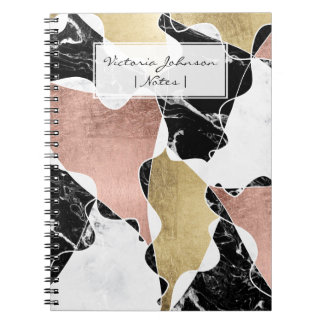 Rose gold black white marble color block geometric spiral notebook