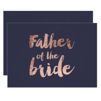 Rose gold blue father of the bride card