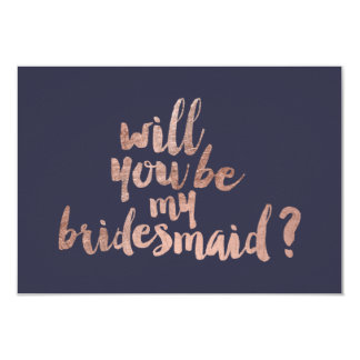 Rose gold blue Will you be my Bridesmaid 9 Cm X 13 Cm Invitation Card