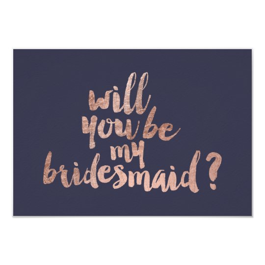 Rose gold blue Will you be my Bridesmaid