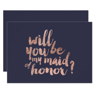 Rose gold blue Will you be my maid of honor Card