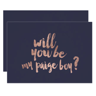 Rose gold blue Will you be my paige boy Card