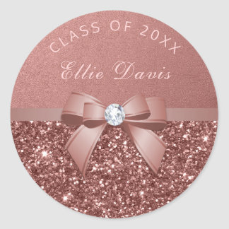 Rose Gold Blush Diamonds Bow Glitter Graduation Classic Round Sticker