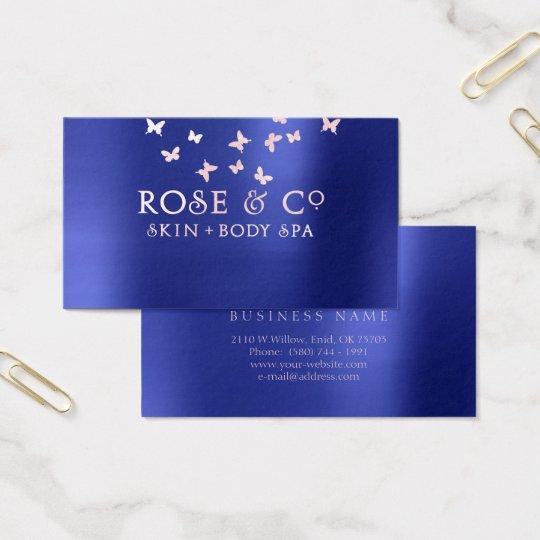 Rose Gold Blush Emerald Cobalt Blue Butterfly Pure