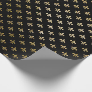 Rose Gold Blush Fior de Lis Black Royal Paris Wrapping Paper
