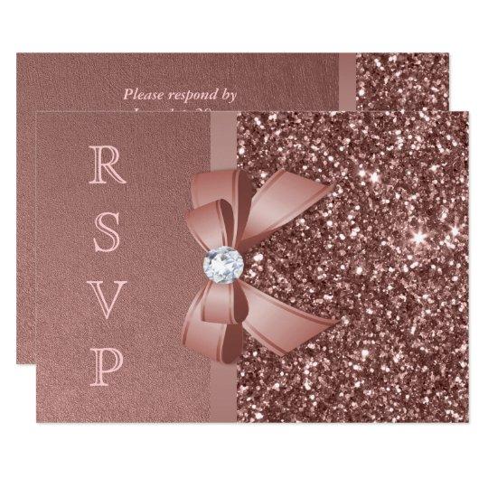 Rose Gold Blush Glitter Bow RSVP Card