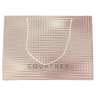 Rose Gold Blush Pearly Abstract Metallic Grill Large Gift Bag