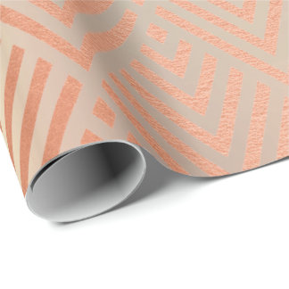 Rose Gold Blush Pearly Metallic Art Deco Copper Wrapping Paper