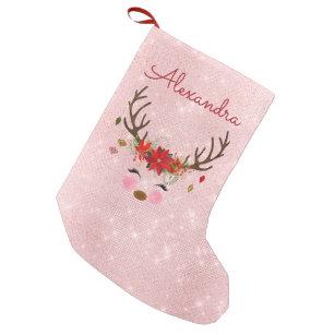 f65c2e871 Rose Gold - Blush Pink Christmas Reindeer Monogram Small Christmas Stocking