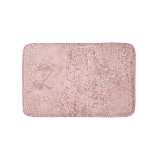 Rose Gold Blush Pink Crystal Glass Luxury Pink Bath Mat