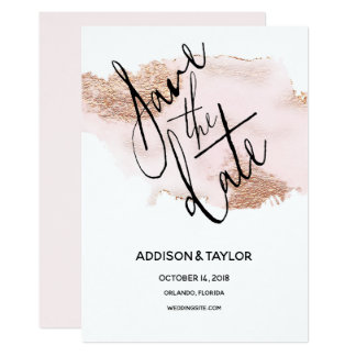 Rose gold blush pink save the date watercolor card