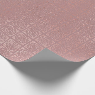 Rose Gold Blush Sun Flower Oriental African Tribal Wrapping Paper