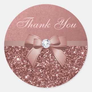 Rose Gold Blush Thank You Glitter Diamonds Bow Round Sticker