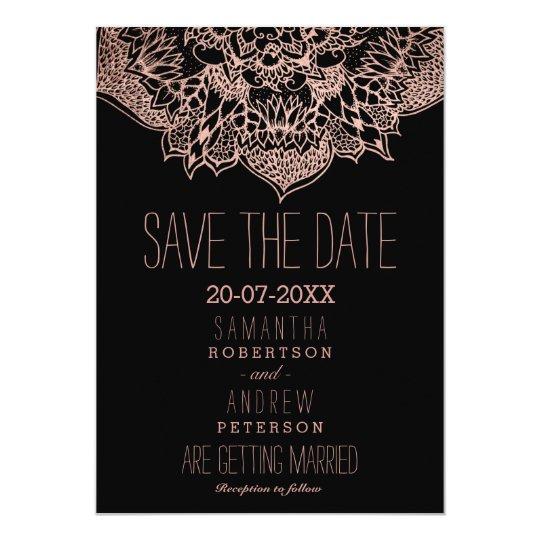 Rose gold boho floral mandala save the date