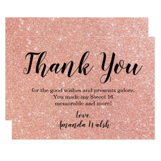 Rose Gold Bokeh Lights Sweet 16 Thank You Note Card