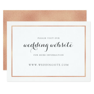 Rose Gold Border Modern Wedding Website Card