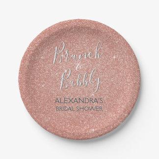 Rose Gold Brunch & Bubbly Bridal Shower Paper Plate