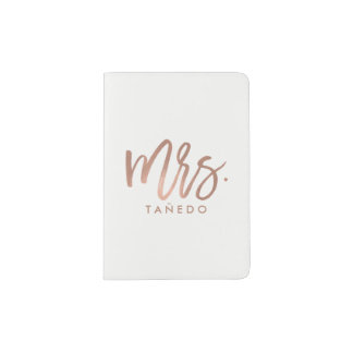 "Rose Gold Brush Script ""Mrs Last Name"" Passport Holder"