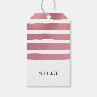 Rose Gold Brush Strokes Gift Tags