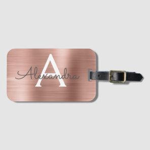 Rose Gold Brushed Metal Monogram Name and Initial Luggage Tag
