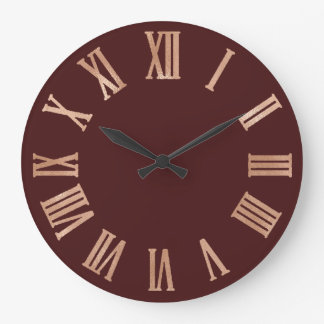 Rose Gold Burgundy Copper Metallic Roman Numers Large Clock