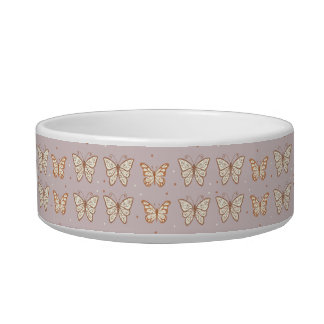 Rose Gold Butterflies and Monogrammed Pet Bowl