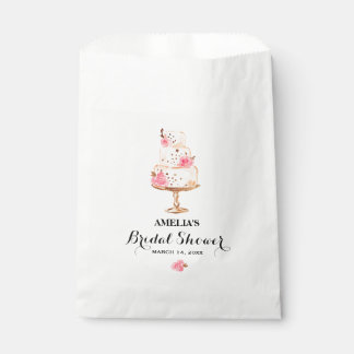 Rose Gold Cake Tea Party Bridal Shower Favor Bags