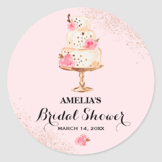 Rose Gold Cake Tea Party Bridal Shower Sticker