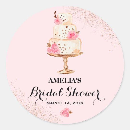 Rose Gold Cake Tea Party Bridal Shower Sticker