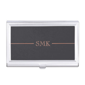 Rose Gold & Charcoal Monogram Business Card Holder