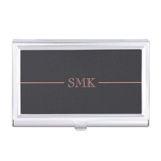 Rose Gold & Charcoal Monogram Case For Business Cards