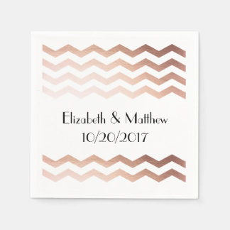 Rose Gold Chevron Cocktail Napkins Paper Napkin