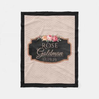 Rose Gold Chevron Stripes | Monogrammed Floral Fleece Blanket