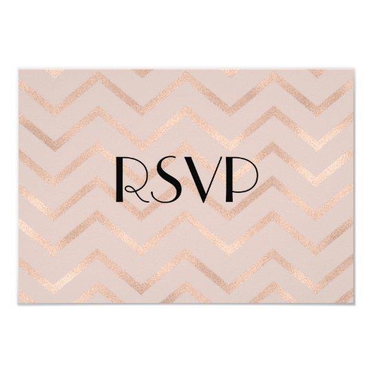 Rose Gold Chevron Wedding RSVP Cards