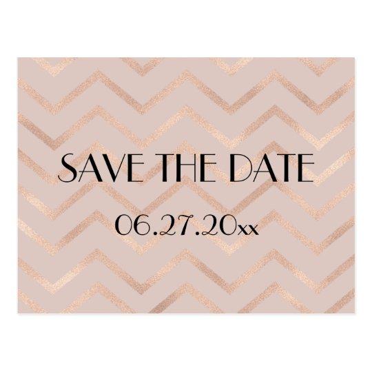 Rose Gold Chevron Wedding Save The Date Postcard