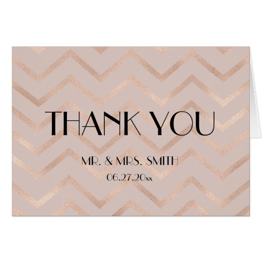 Rose Gold Chevron Wedding Thank You Cards