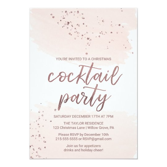 Rose Gold Christmas Cocktail Party Card