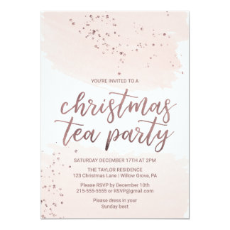 Rose Gold Christmas Tea Party Card