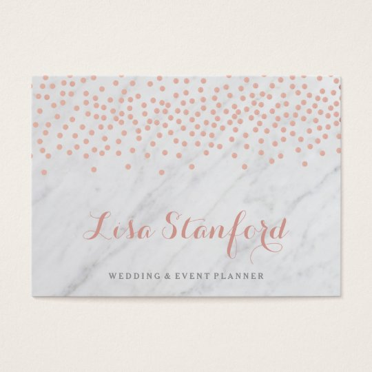 Rose gold confetti and marble business card