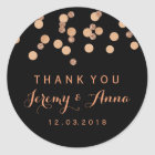 Rose Gold Confetti Black Thank you  sticker