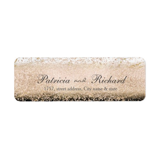 Rose gold confetti marble wedding artwork return address