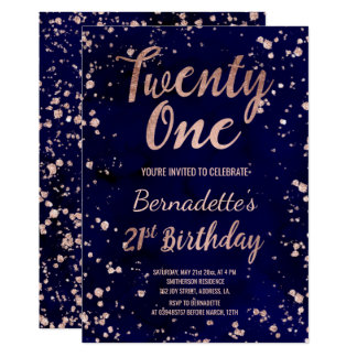 Rose gold confetti navy watercolor 21st Birthday Card