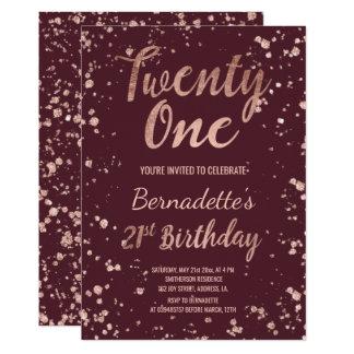 Rose gold confetti splatters burgundy 21 Birthday Card