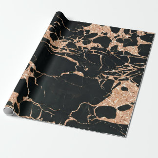 Rose Gold Copper Glitter Metallic Black Marble Wrapping Paper