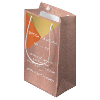 Rose Gold Copper Modern Wedding Party Welcome Small Gift Bag